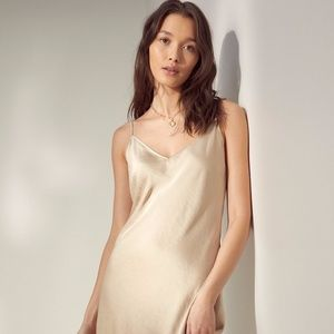 Aritzia Wilfred Satin Champagne Lace Slip Dress